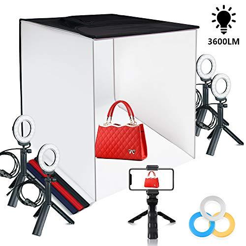 FOSITAN Fotostudio Lichtzelt 60x60x60cm Faltbare Tischplatte Beleuchtung Fotozelt mit 4X 7W- LED Ringleuchten, 5 Stative, 4 Hintergründe, 3 Farbfilter und Einem Handyhalter für die Fotografie