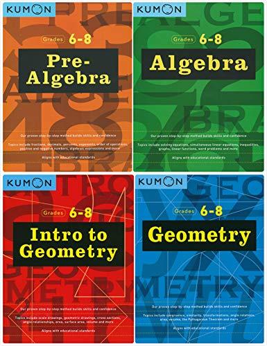 Kumon Workbooks Middle School SET (4 Books) - Pre-Algebra & Algebra + Intro to Geometry & Geometry