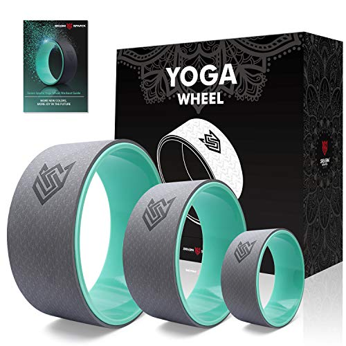 Seven Sparta Yoga Wheel Set 3 Pack Yoga Back Circle Roller Wheel for Stretching, Back Pain, Backbends and Bodyweight Exercices,13Inch, 10.5Inch, 6.5Inch(Turquoise)
