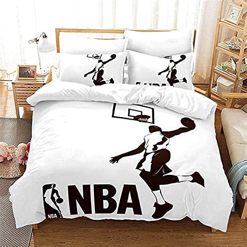 HUA JIE Funda Nórdica Y Funda De Almohada Juego De Funda Nórdica De Baloncesto Juego De Cama para Niños Adolescentes Niños NBA Fanáticos De Los Deportes Dormitorio