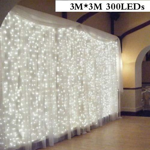 Christmas Curtain light 96/300LED Wedding Holiday LED String Light Decorative Fairy Lamp bulb Garland Party for home decorations - 3mX3m 300LEDs,220V EU Plug,Multicolor
