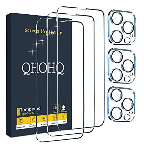 QHOHQ 3 Stück Panzerglas Schutzfolie für iPhone 13 Pro Max 6.7' mit 3 Stück Kamera Schutzfolie, 9H Härte, Ultra-HD, Anti-Kratz, Anti-Blasenfrei, Einfach Installieren, Hülle Freundllich