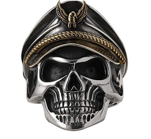 CHXISHOP Anillo de plata de ley 925 para hombre, anillo abierto, diseño de calavera de personalidad, anillo punk de plata y anillo ajustable de hip-hop. Talla única