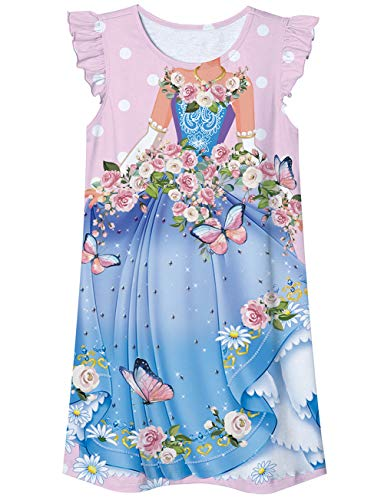 Idgreatim Dziewczęce koszulki nocne piżama trzepotanie rękaw sukienki nocne z nadrukiem urocza bielizna nocna księżniczka odzież domowa koszula dla 5-12 lat