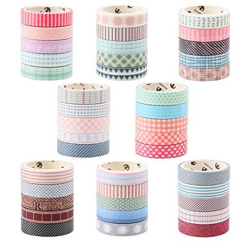 Pveath Juego de rollos de cinta Washi, 40 piezas de 10 mm x 3 metros Cintas decorativas de artesanía decorativas seleccionadas a mano para envolver regalos DIY