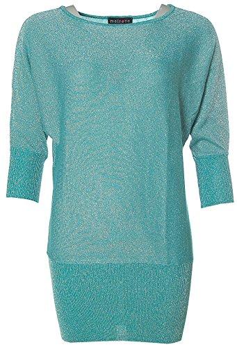 Melrose Damen Glitzer Long Pullover Smaragd 36
