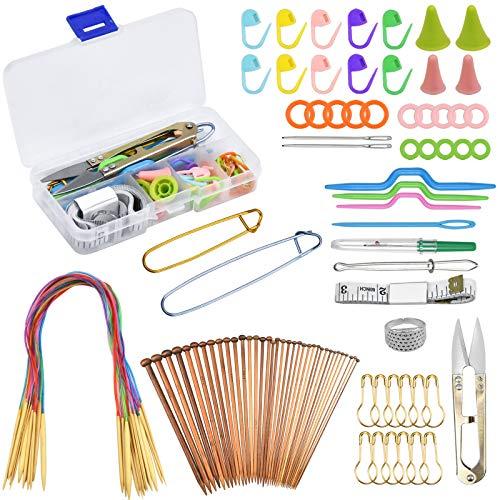 Chstarina Set de Agujas de Tejer, 54 piezas 2 mm -10 mm Agujas Tejer Circulares y Aguja Circular de Bambú con Tubo de Plástico Coloreado Incluye Herramientas de Tejer para Principiantes