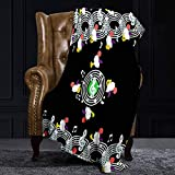 Ellekiwi Flannel Blanket Music Moogle Black Green Plush Fluffy Warm Soft Bed/Sofa Blankets and Throws for Queen and King Size - 51 x 78.7in