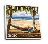 Juego de 4 posavasos de goma para bebidas, Boynton Beach, Florida - Palmas y...