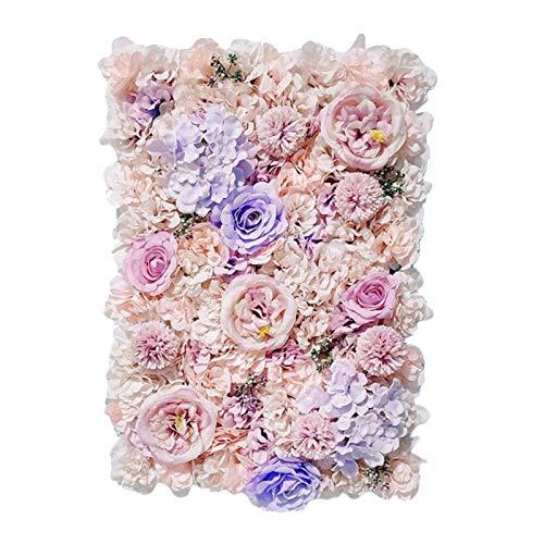 Milageto Paneles florales 24'x 16' Pantalla de pared de flores artificiales flores románticas fondo Floral decoración de boda foto fotografía Fondo decoración - Púrpura