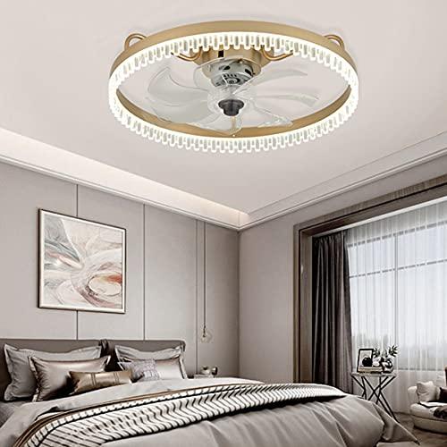 LED Ventilador Luz De Techo Con Iluminación Luces Colgantes Regulables Con Control Remoto Lámpara De Araña Moderna Comedor Sala De Estar Dormitorio Ventilador De Acrílico Candelabro Dorado 50CM