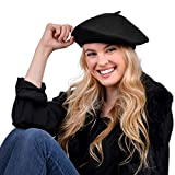 Nollia Women's Solid Color French Beret Wool Material. Classic French, Casual and Chic Lightweight Beanie Cap Hat, Black