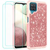 Glitter Case for Samsung Galaxy A12 6.5 Inch | Cute Sparkle Protective Cell Phone Basic Case for Girls Women | TPU+PC Anti-Shock Anti-Scratch Covers 2021(Rose Gold)