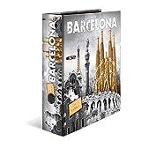 HERMA Archivador de anillas con palanca Ciudades de tendencia con motivo Barcelona, A4, 70 mm, con estampado interior, 1 carpeta con motivos