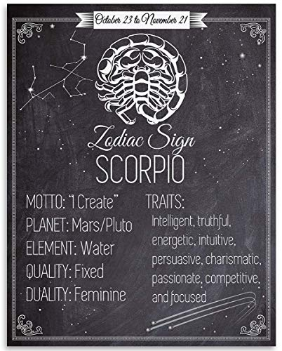 Zodiac Sign Scorpio, The Scorpion - 11x14 Unframed Art Print - Great Birthday Gift Under $15 for Astrology Enthusiasts