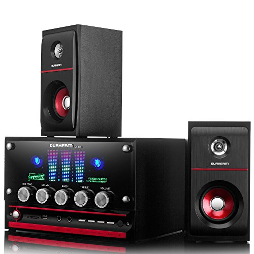 Durherm DR-S30 2.1 Channel Glass Surface LED Equalizer USB SD MP3 Audio Inputs Home Audio Woofer Speaker System