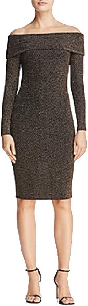 Aqua Metallic Off-The-Shoulder Dress