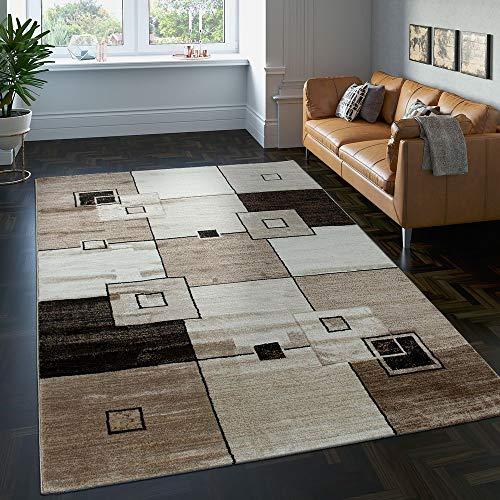 Paco Home Edler Designer Teppich Kariert Kurzflor in Braun Beige Creme Meliert, Grösse:240x340 cm