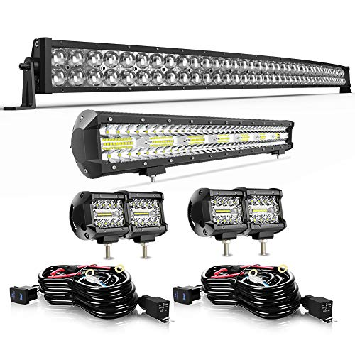 42'240W LED Light Bar+20inch LED Light bar Flood Spot Off Road Lights 4pc 4inch Driving Fog Lights W/Wiring For Polaris Can am maverick Honda Pioneer Grand Cherokee Dodge
