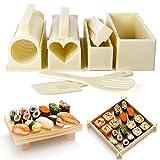 Kit de preparación de sushi, kit de sushi familiar de bricolaje 10 piezas, varias formas de juego de preparación de sushi, juego de sushi adecuado para amantes del sushi, principiantes, niños, fiesta
