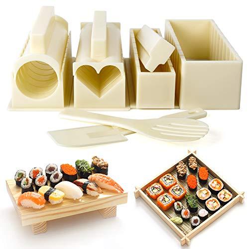 Sushi Maker Kit, Kit Sushi Famiglia Fai da Te 10 Pezzi, Varie Forme di Sushi Making Kit, Set Sushi Adatto per gli Amanti del Sushi, Principianti, Bambini, Feste