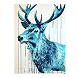 N / A Reliable Watercolor Animal Painting Blue Deer Canvas Painting Living Room Home Decoration Painting Wall Painting Frameless 40x55cm