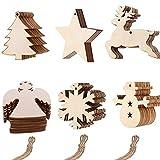 Anyasen 60 piezas Rodajas de Madera Colgantes de Madera Navidad colgantes navidad adornos...