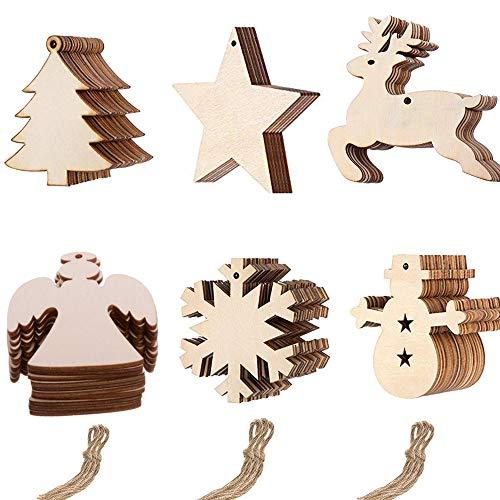 Anyasen 60 piezas Rodajas de Madera Colgantes de Madera Navidad colgantes navidad...