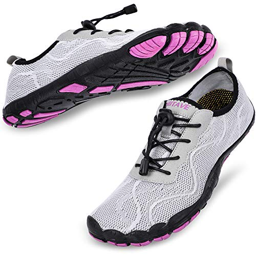 hiitave Women Water Shoes Quick Dry Barefoot Aqua Socks River Beach Swim Diving Surf Pool Yoga Light Gray/Purple 8-8.5 M US Women