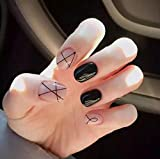 Uñas postizas Jovono, cortas, para mujer y niña, sin pegamento (color rosa y negro)