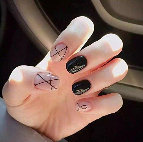 Jovono – Faux ongles courts pour femmes et filles sans colle (rose + noir)