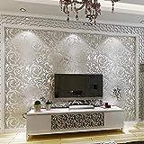 Telihome Damasco clásico de lujo lámina dorada plata papel de pared papel tapiz con brillo en el techo dormitorio sofá fondo de pared decoración para el hogar, B, 0.53 * 10 M