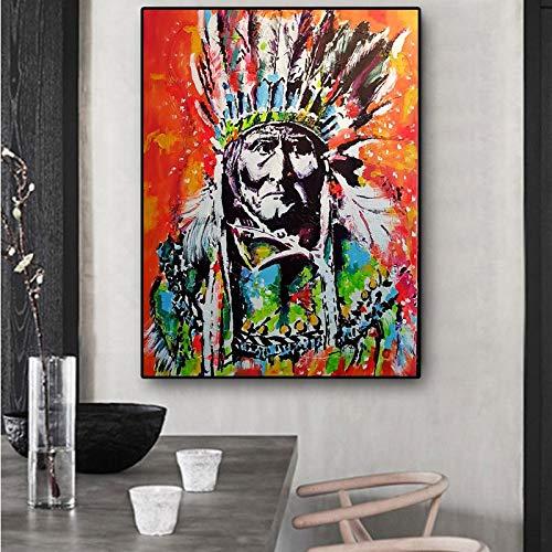 yiyitop Retrato de Indios cubanos sobre Lienzo. Pintura al óleo Cuadros Poster e impresión. Salón Mural Imagen 50x70cm (sin Marco)