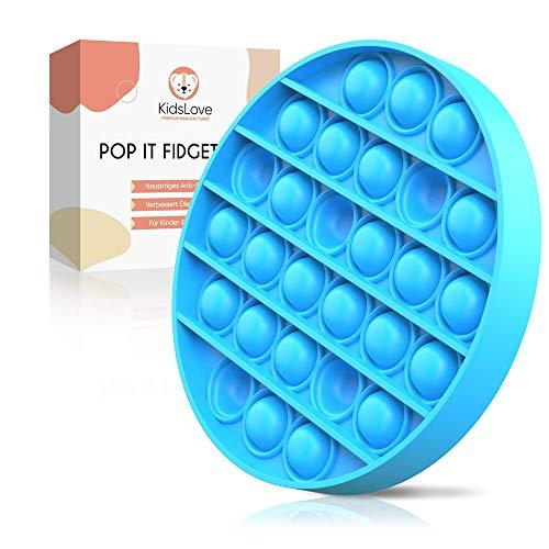 KIDSLOVE© Pop it Fidget Toy - DAS ORIGINAL - Push Pop Pop Bubble Popit Groß - Sensory Toys Fidgettoy Set Mini Spielzeug - Verbessertes Konzept 2021 - Anti Stress Spiel für Kinder und Erwachsene (BLAU)