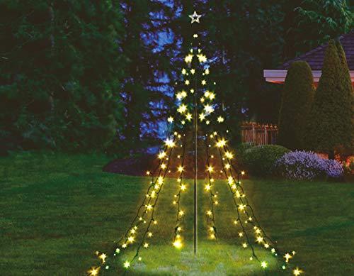 Beleuchtete LED Lichterpyramide in Kegel Form - 2,2m Höhe / 200 LED in warmweiß - Deko Baum Tannenbaum Außen LED Weihnachtsbaum