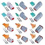 HUAZIZ 6 Juegos 2/3/4 Pines Selladas Gris Macho y Hembra Auto Conector de Cable Eléctrico a Prueba de Agua,Conector Eléctrico Impermeable para Coche DT,22-18AWG Conector para Motocicleta,Camión,Barcos