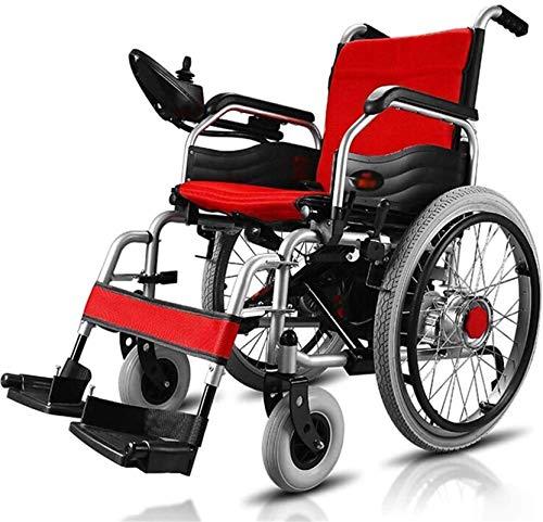 Silla de Ruedas eléctrica Plegable, Silla de ruedas eléctrica accionada plegable de peso ligero, ultra portátil silla de ruedas plegable de la energía, sólo pesa 35 kg, el asiento Ancho 46cm /
