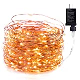 Minetom Fairy Lights Plug in, 40Ft 120 LED Waterproof Firefly Lights on Copper Wire - UL Adaptor Included, Starry String Lights for Wedding Indoor Outdoor Christmas Patio Garden Decoration, Warm White