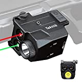TAKTIIK Red Green Laser Light Combo for Pistol, 500 Lumens Compact Tactical Flashlight Laser Combo with Strobe Mode, USB Rechargeable Multi-Function Tactical Flashlight Laser Sight for Handguns