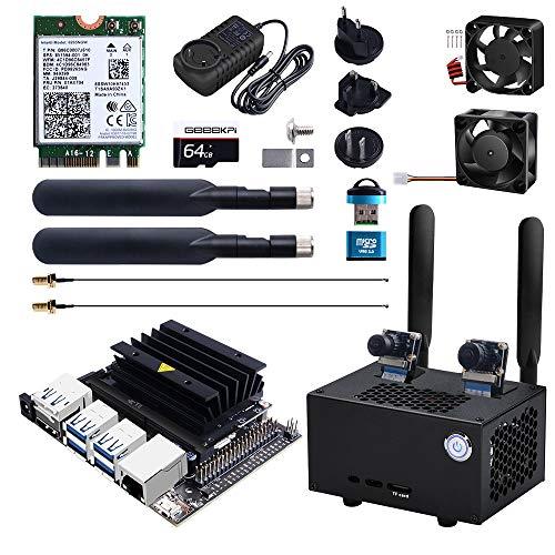 DVOZVO Jetson Nano B01 Kit de desarrollador de 4 GB con carcasa de metal, ventilador de refrigeración, módulo inalámbrico AC8265, antena, fuente de alimentación de 5 V 4 A y tarjeta SD de 64 G