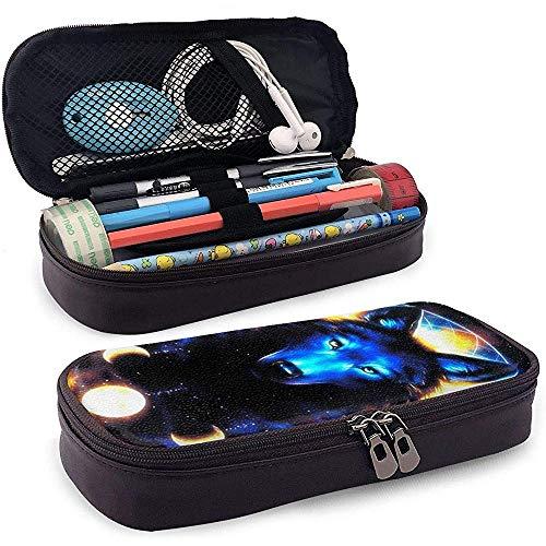 Galaxy Wolf Große Kapazität Student Federmäppchen Tragbare Tasche Federmäppchen mit doppeltem Reißverschluss Aufbewahrungsorganisator für Füllfederhalter Kugelschreiber Stylus Pencil USB-Kabel