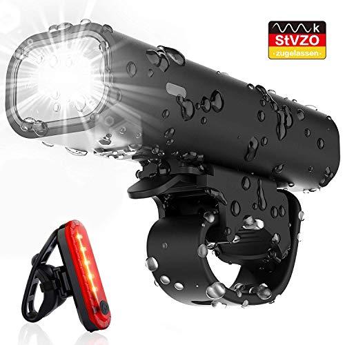 Pezimu Fahrradlicht LED Set - Wasserdicht Fahrradlichter USB Wiederaufladbare Fahrradbeleuchtung - StVZO Zugelassen Frontlicht Rücklicht Fahrradlampe Set