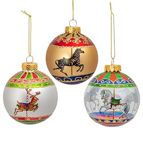 Kurt S. Adler Festive Horse Zebra Deer Red Ball 3 inch Glass Decorative Hanging Ornament Set 6