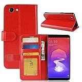 Ranjinincas Crazy Horse Texture Horizontal Flip Leder Tasche for Oppo Realme 1 und F7 Jugend A73S, mit Geldbörse & Kartenhalter (Schwarz) (Farbe : Red)