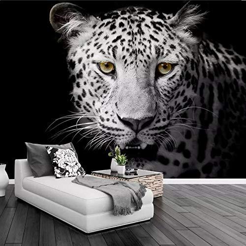 Papier peint fait sur commande Lion Tiger noir et blanc peintures murales des animaux Entrée Chambre Salon Canapé Tv Mur Peinture Murale Papier Peint Décor À La Maison, 350 × 245 Cm