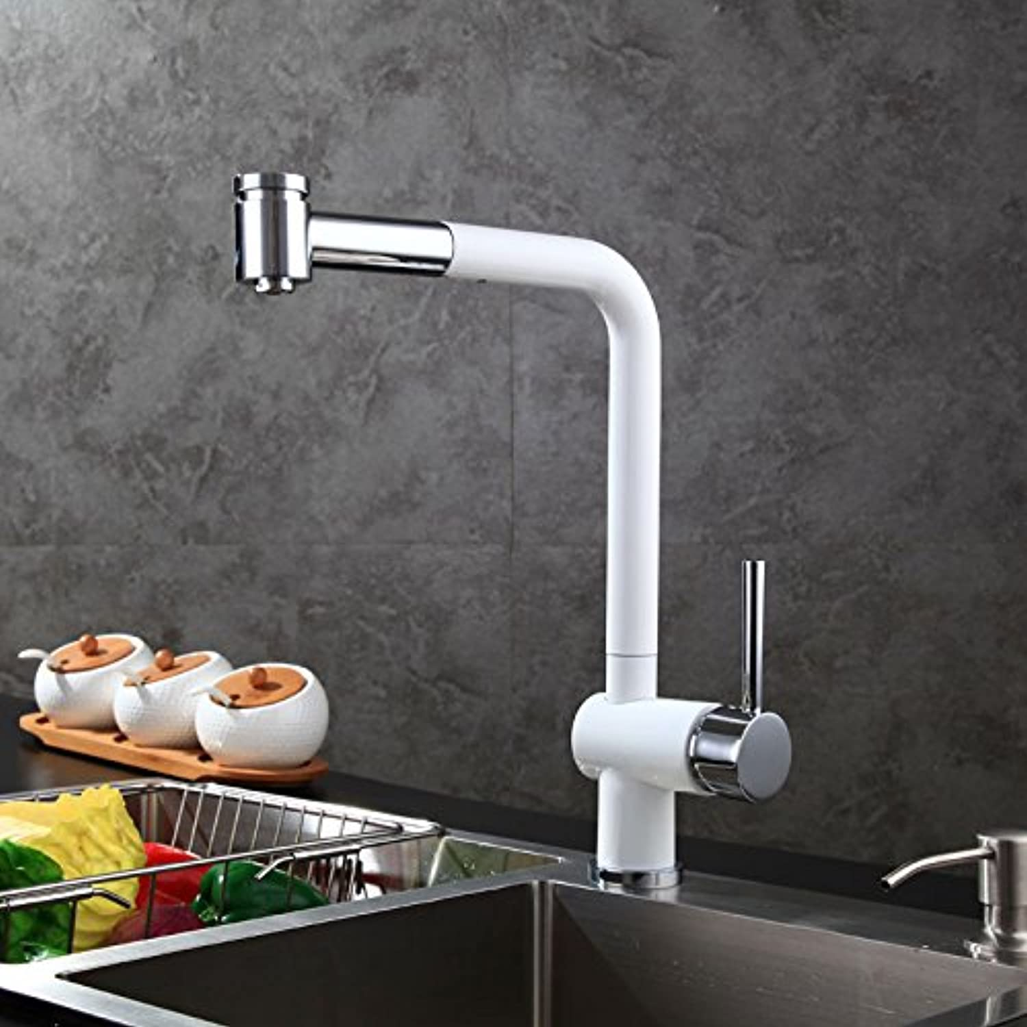 Groeshane Kitchen Sink, Dish Basin, Telescopic Faucet, Shower Faucet, Hot And Cold Copper,White