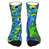 QUEMIN Colourful Wild Peacock Casual Athletic Socks 15.7 Inch Ankle Stockings Sport Cotton Crew Socks