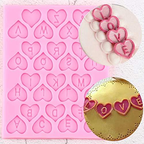 YTBUBOR Molde de Silicona del Alfabeto de Letras de corazón DIY Fiesta Cupcake Topper Herramientas de decoración de Pasteles Dulces moldes de Chocolate de Arcilla polimérica