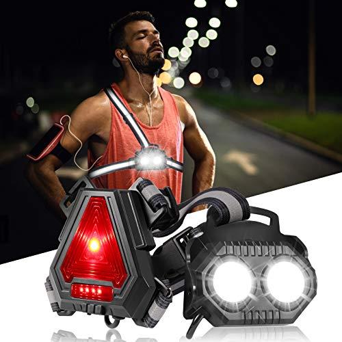 ECOWHO Lauflicht,LED Lauflampe Joggen, USB Wiederaufladbare Lauflampe Sport, Wasserdicht Brustlampe, Einstellbarer Abstrahlwinkel Jogging Licht, Lampe zum Laufen für Joggen Nacht Angeln Campen Wandern