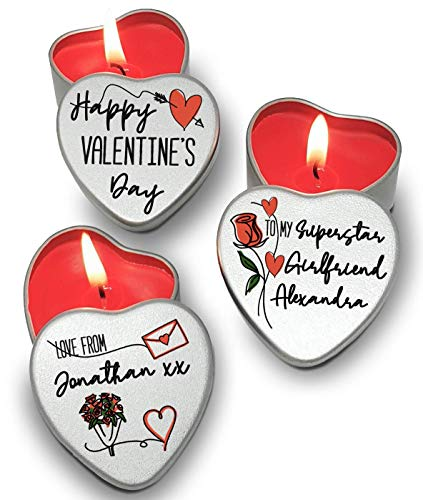 Personalised Set of 3 Red Candles in Heart Shaped Mini Tins Happy Valentine's Day Hand Designed Sleek Stylish Roses Hearts Sketchy Theme I Love You Gift Card Alternative for someone special